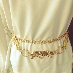 Gold Tone Link Leopard Animal Chain Belt